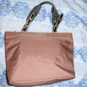 REACTION KENNETH COLE BURGUNDY NYLON TOTE PURSE